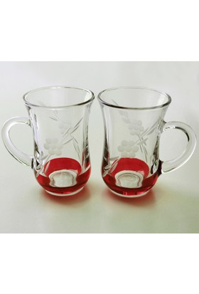Paşabahçe Keyif Kulplu Papatya(Kırmızı) Çay Bardağı 12 Adet