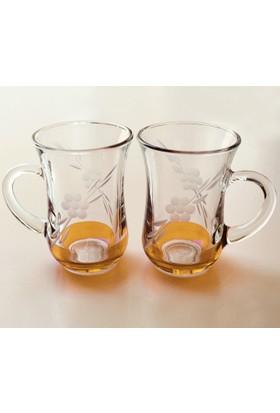 Paşabahçe Keyif Kulplu Papatya(Turuncu ) Çay Bardağı 12 Adet