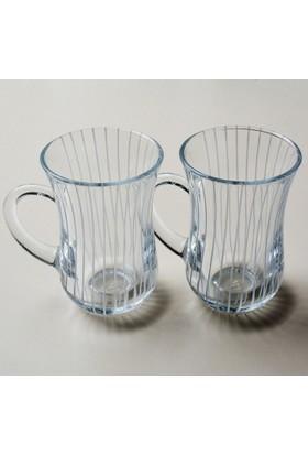 Paşabahçe Keyif Kulplu Çizgi Dekor Çay Bardağı 12 Adet