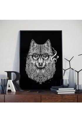 Asr Smoker Wolf - Sigara İçen Kurt - Saten Kumaş Poster