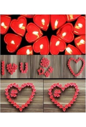 Arsevi 50 Adet Kalp Şeklinde Tealight Mum