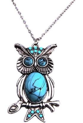 Angemiel Mavi Taşlı Baykuş Bayan Kolye