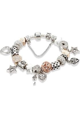 Angemiel Gümüş Ve Altının Uyumu Kristal Taşlı Kalp Charm Bileklik