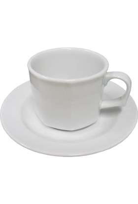 Güral Porselen 12 Kişilik 24 Parça Köşeli Kahve Fincan Takımı 02CT