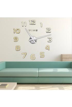 Modern Nesil DIY 3D Dekoratif Büyük Boy Sticker Duvar Saati Model 5