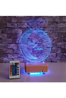 Tektaş Yüzük Çizimli Led Lamba 3 Boyutlu Led Lamba - Kişiye Özel İsim Tarih yazılabilir lamba