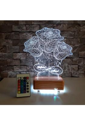 Güllü 3D Led Lamba 3 Boyutlu Led Lamba - Kişiye Özel İsim Tarih yazılabilir Lamba