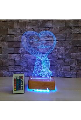 Tek Kalpli 3D Led Lamba 3 Boyutlu 16 Renkli ve Kumandalı Lamba