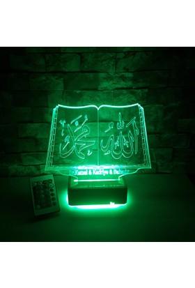 ALLAH MUHAMMED Yazılı Led Lamba 16 Renkli Kumandalı 3D Led Lamba