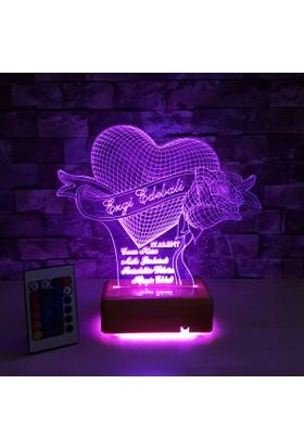 Kalpli ve Güllü 3D Led Lamba 16 Farklı Renk Anneler Günü Hediyesi - İsimli Led Lamba