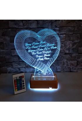 Kalp Tasarımlı 3 Boyutlu Led Lamba 16 Renkli Kumandalı Ahşap Standlı
