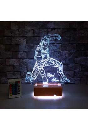 DemirAdam 3 Boyutlu Led Lamba Kişiye Özel İsimli 16 Renkli Kumandalı