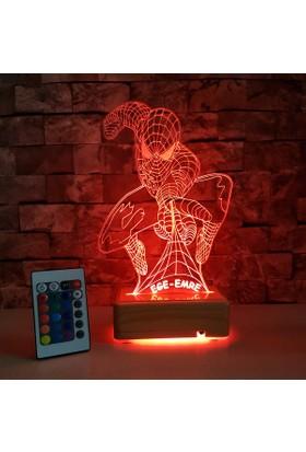 Örümcek Adam 3 Boyutlu Led Lamba Kişiye Özel İsimli 16 Renkli Kumandalı