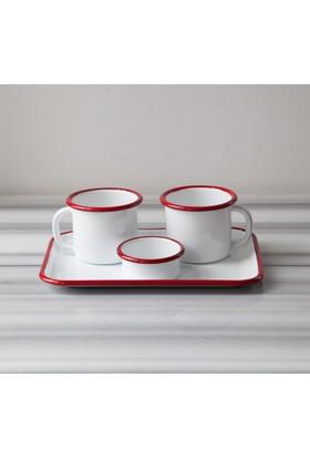 Refikadan Kırmızı Emaye İki Kişilik Çay & Kahve Seti