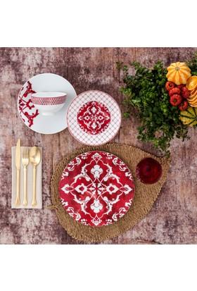 Güral Porselen Atina 24 Parça Yemek Set İkırmızı