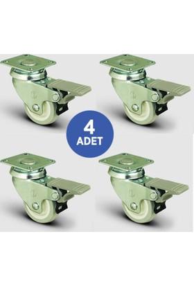 4 Adet Ep01Zkc50F, Oynak Tablalı Frenli Mobilya Tekerleği, Pvc Kaplı, Sehpa Tekeri, Çap:50, 4Lü Set, Çift Dizi Bilyalı Geniş Tip