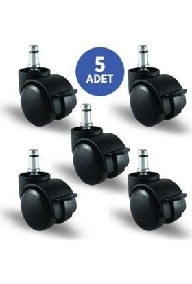 5 Adet Ec03Gmkm50F, Pimli Frenli Mobilya Tekerleği Koltuk Tekeri, Çap:50, 5Li Set, Geniş Tip