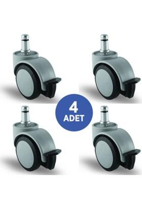 4 Adet Ec05Mkt50F, Oynak Civatalı Frenli Mobilya Tekerleği Sehpa Tekeri, Çap:50, 4Lü Set, Geniş Sessiz Tip