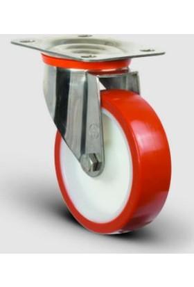 Ssez01Zbp100 Paslanmaz Döner Tablalı Tekerlek Çap:100 Poliüretan Inox Sanayi Tekerleği, Oynak Tabla Bağlantılı, Bilya Rulmanlı