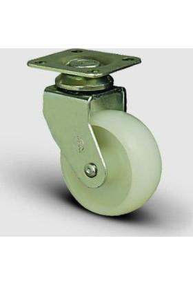 Eb01Zkz50 Döner Tablalı Poliamid Tekerlek Çap:50 Mobilya Tekerleği, Oynak Tabla Bağlantılı, Burçlu Sehpa Tekeri