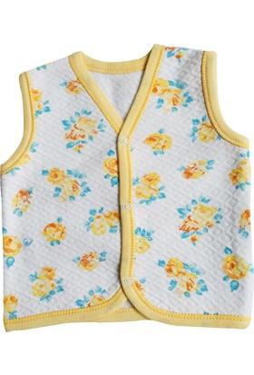 Gülücük Sarı Çiçekli Bebek Yelek 3 - 6 Ay