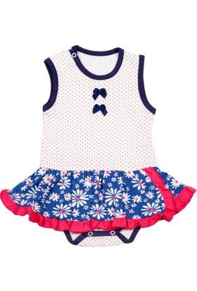 Gülücük Kolsuz Mavi Etekli Pembe Kız Bebek Zıbın Elbise Body 6 - 9 Ay