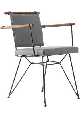 Endustrıyel Apyza Metal Ahşap Sandalye