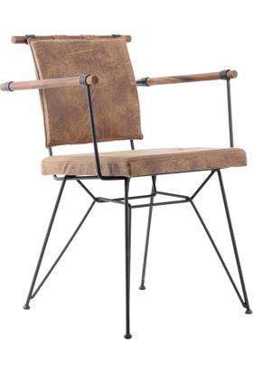 Endustrıyel Apyzn Metal Ahşap Sandalye