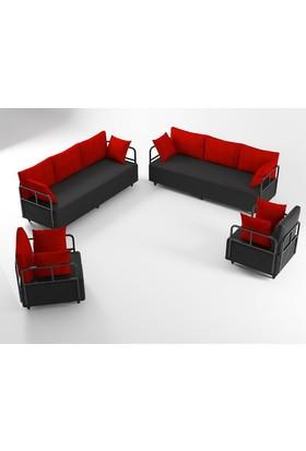 Ahsen Oturma Grubu - Siyah-Kırmızı