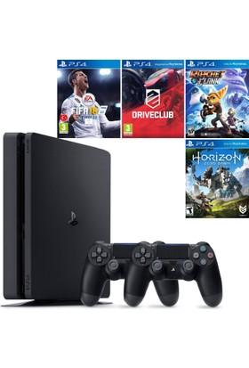 Sony Playstation 4 Slim 500 GB Konsol + 2. Ps4 Kol + Fifa 18 + Driveclub + Ratchet and Clank + Horizon Zero Dawn