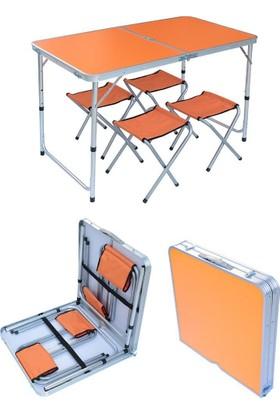 Katlanabilir Piknik Masası Seti Turuncu