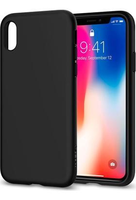 Spigen Apple iPhone X Kılıf Liquid Crystal 4 Tarafı Kapalı Matte Black - 057CS22119