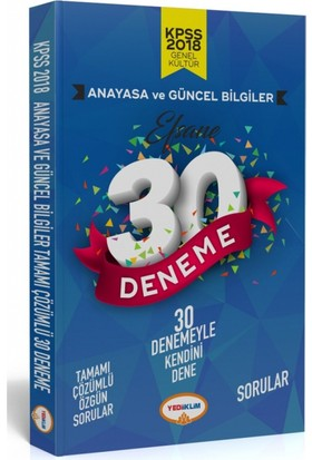 Yediiklim Yayınları 2018 Kpss Anayasa Tamamı Çözümlü Efsane 30 Deneme
