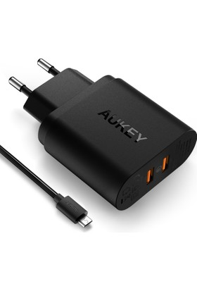 Aukey 2 Portlu Qualcomm 3.0 USB Duvar Şarj ve 1mt Micro USB