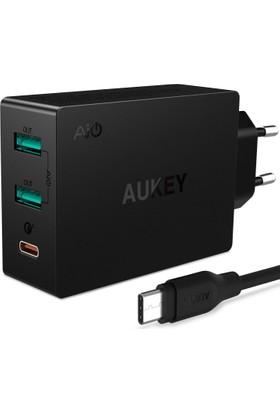 Aukey 3 Port 42W Qualcomm 3.0 Type C Hızlı Seyahat Şarj Cihazı
