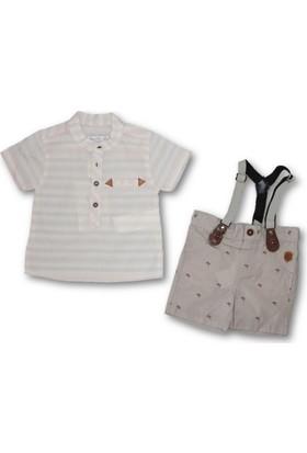 Monna Rosa Çizgili Gömlekli Askılı 2'li Erkek Bebek Şortlu Takım