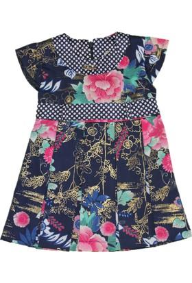 Lilax Saten Kumaş Varak Baskılı Kız Çocuk Elbise