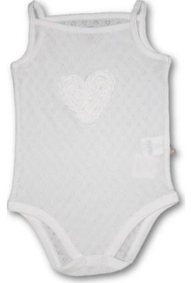Bibaby Kalpli İp Askılı Kız Bebek Body - Ekru