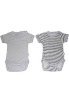 Bebetto Penye Çizgili 2'li Kısa Kollu Erkek Bebek Body