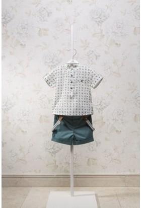 Monna Rosa Gömlekli Askılı 2'li Erkek Bebek Şortlu Takım