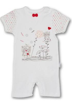 Bibaby Sevimli Arkadaşlar Kısa Kız Bebek Tulum - Kırmızı