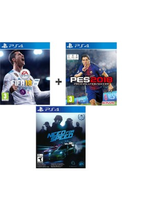 Sony PS4 Fifa 18 + Pes 18 + Need for Speed OYUN
