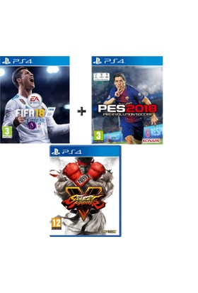 Sony PS4 Fifa 18 + Pes 18 + street Fighter IV OYUN