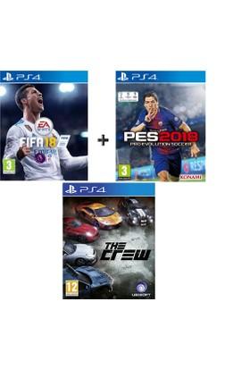 Sony PS4 Fifa 18 + Pes 18 + The Crew OYUN