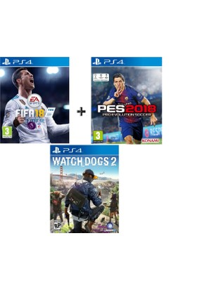 Sony PS4 Fifa 18 + Pes 18 + Watch Dogs2 OYUN