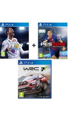 Sony PS4 Fifa 18 + Pes 18 + Wrc7 OYUN