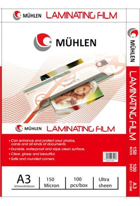 Mühlen A4 Laminasyon Filmi 150 Micron 1 Paket 100 Adet
