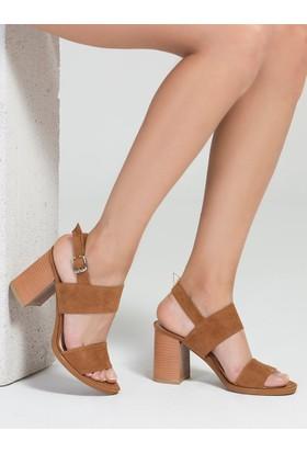 Mecrea Juke Taba Süet Alçak Topuklu Dekolte Topuklu Sandalet