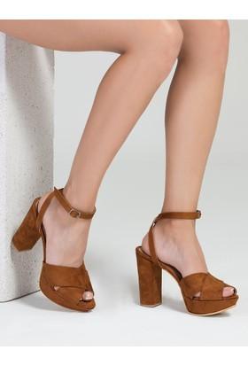 Mecrea Side Taba Süet Platform Topuklu Sandalet
