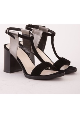 Mecrea Arvilla Siyah Süet Platin Kombin Topuklu Sandalet